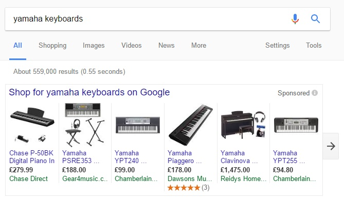 Keyboard Shopping Results