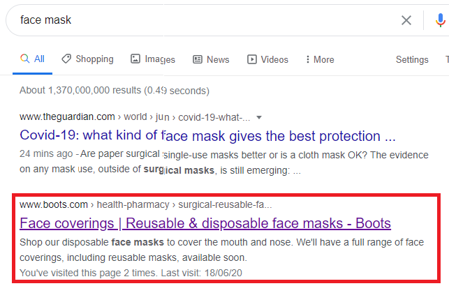 Boots search result for face masks