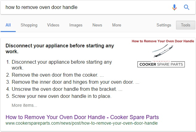 Numbered list snippet - How to remove your oven door handle