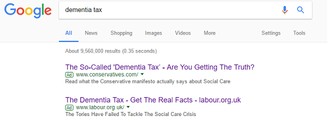 Dementia Tax Rivals