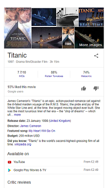 Rich card for the movie 'Titanic'