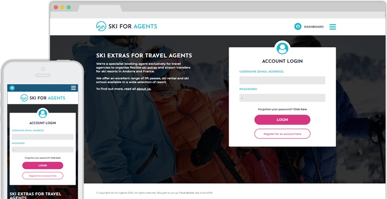 Ski Website for Travel Agents