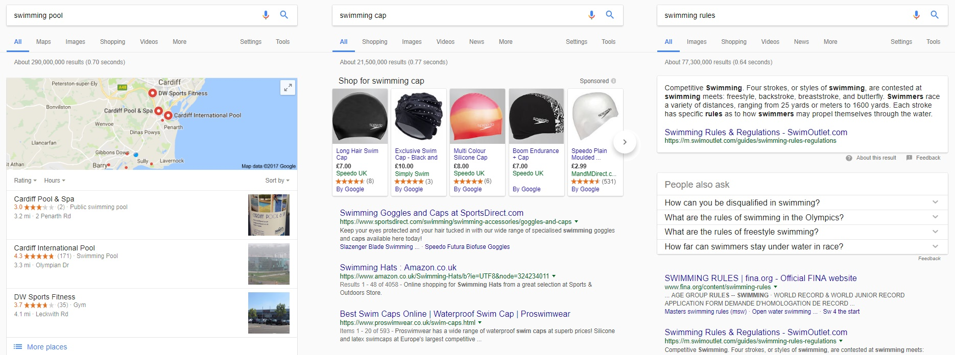 Swimming search results