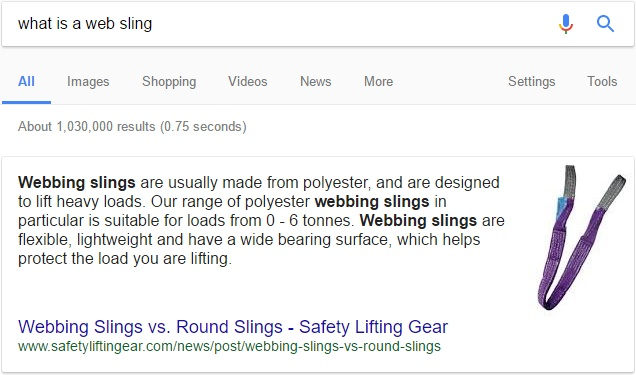 Featured snippet - What is a web sling?